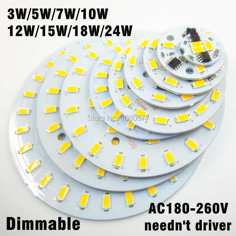 10pcs 3w 5w 7w 10w 12w 15w 18w 24w ac 220v led pcb SMD5730 integrated ic driver White/ Warm White Light Source For LED Bulb(China (Mainland))