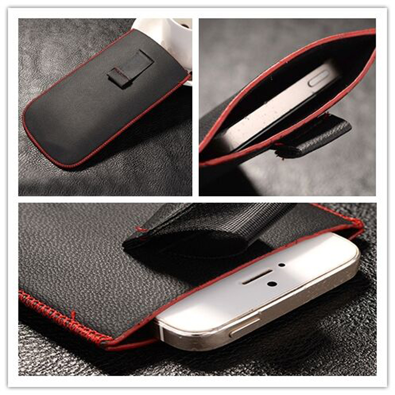 New Red border Top grade Universal Holster skin Waist Leather Pouch Cover Case For Newsmy Newman N1(China (Mainland))