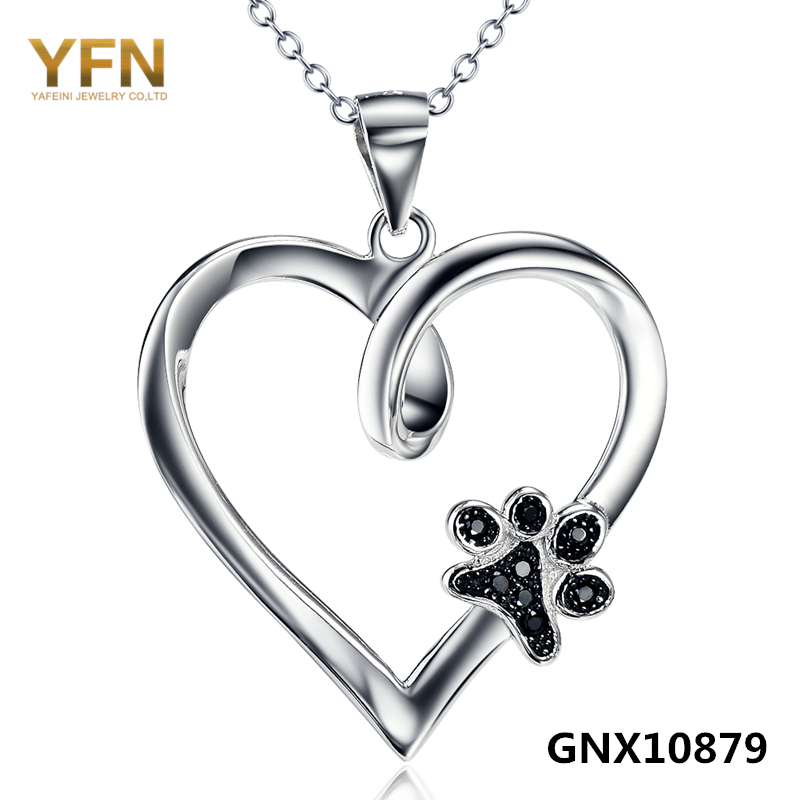 GNX10879 100% Real Pure 925 Sterling Silver Heart Pendant Necklaces with Black Cubic Zirconia Dog Paw Valentine's Gift For Women(China (Mainland))