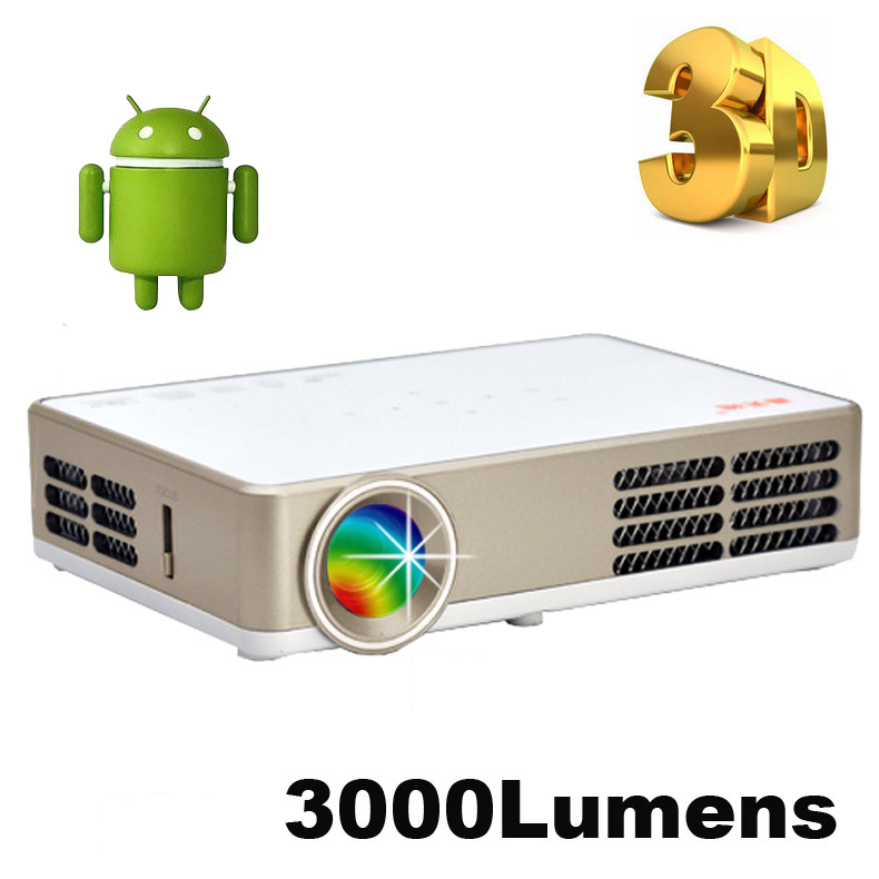 Buy 3000lumens android 4 4 dlp 3led for Mirror hd projector