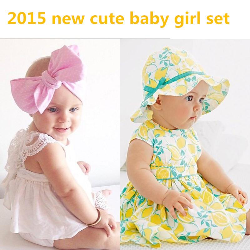 2015 retail Summer Fashion Baby Girl Clothes 0-24M cute baby girl dress lace/fruit lemon sleeveless dress+shorts+hat<br><br>Aliexpress
