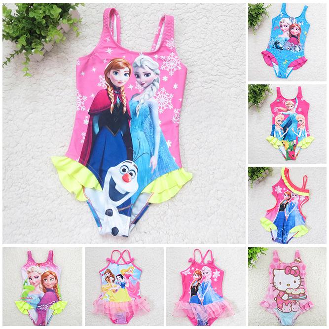2015 Elsa Anna Baby Girls Bathing Suits Childrens Swimwear Kids One Pieces Swimsuit Toddler Hello Kitty Swimming Costume(China (Mainland))