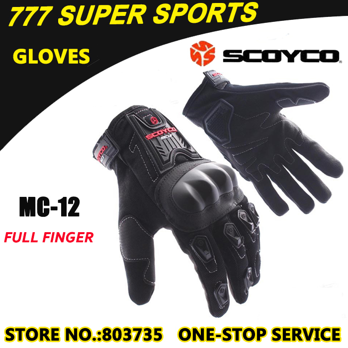 Hot Sales Motorcycle Gloves Full Finger Guantes Best To Protect Knuckle Sports Motorbike Glove Scoyco MC12(China (Mainland))