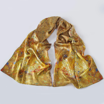 Fashion vintage silk scarf long design oil painting mulberry silk scarf gold elegant silk scarf cape