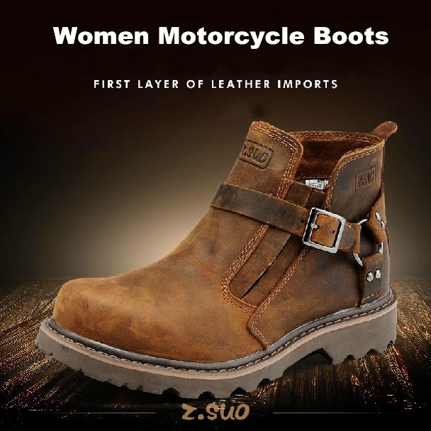 2015 new women Martin boots fashion genuine leather Motorcycle boots crazy horse leather female ladies outdoor tooling boots(China (Mainland))