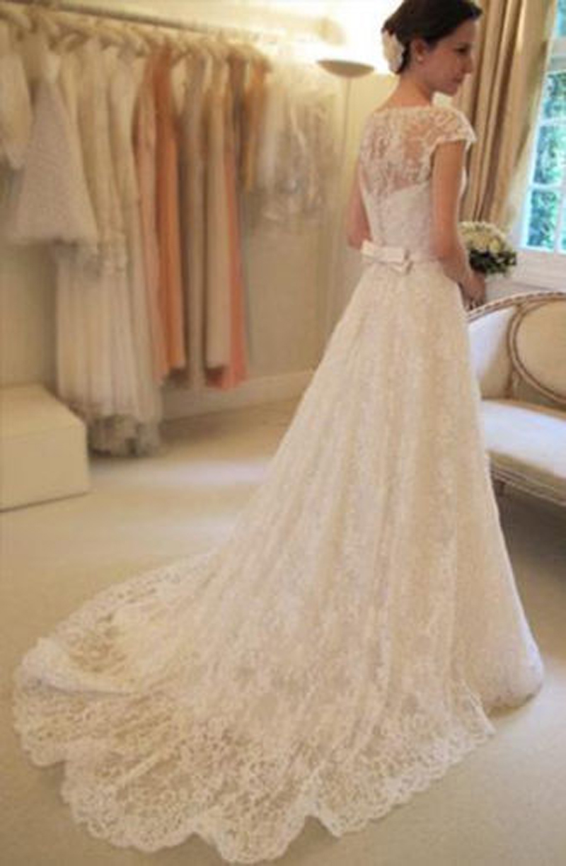 Sexy lace floor length bridal gowns bows wedding dresses for Lace button back wedding dress