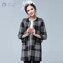 On sale XL-5XL plu size women tassels three quarters sleeves trench coat fashion women autumn plaid long coat 2015