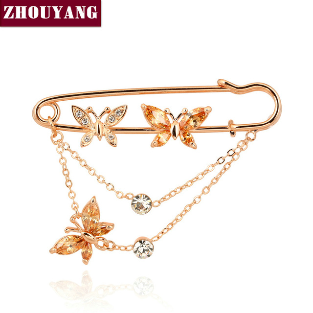 ZHOUYANG ZYX015 Three Butterflies Crystal Brooches  Champagne Gold Plated  Jewelry Austrian Crystal  Wholesale