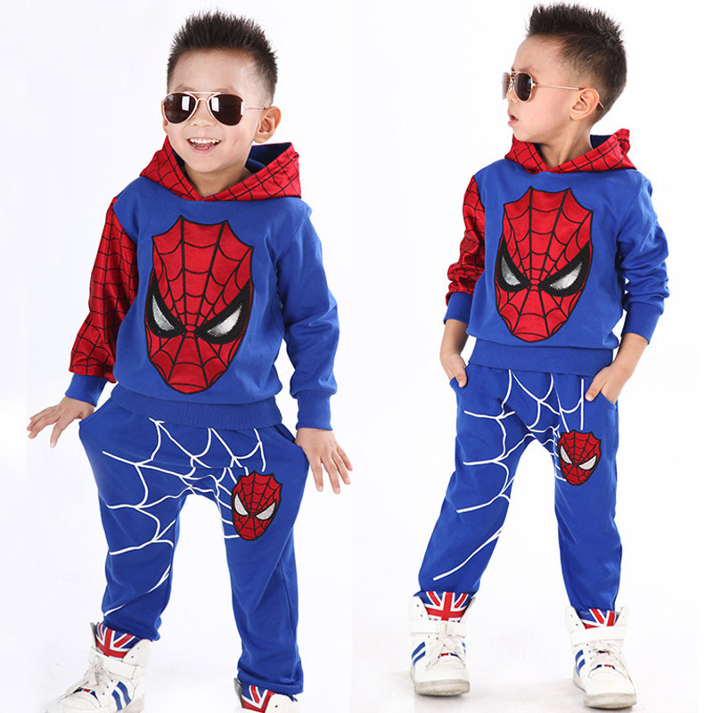 Baby Boys Spring Autumn Spiderman Sports suit 2 pieces set Tracksuits Kids Clothing sets 100-140cm Casual clothes Coat+Pant