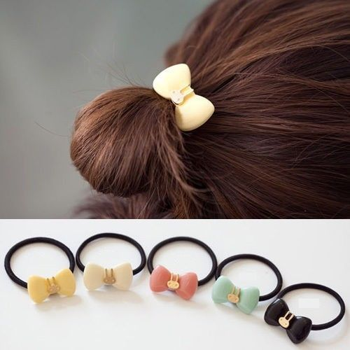 Lovely Cute Women Girl Hair Bands Rope Bow Rabbit Elastic Tie Ponytail Holder(China (Mainland))
