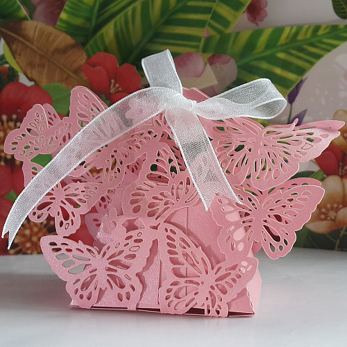 2013 New Free shipping 50 pcs Pink Butterfly Laser cut Candy Boxes DIY Wedding Favor Box Chocolate Favor Boxes party favor gifts(China (Mainland))