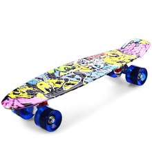 5 Color 22'' Aluminum skateboard fish skate board banana board mini cruiser long skateboard four-wheel street longboard(China (Mainland))