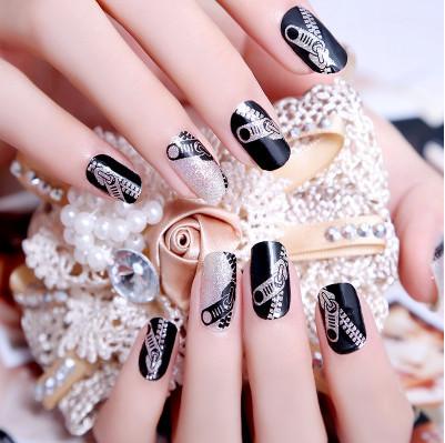 1 sheet hot sale new fashion glitter zipper/zip pattern Nail Art decoration nail patch polish sparkle beauty nail Stickers(China (Mainland))