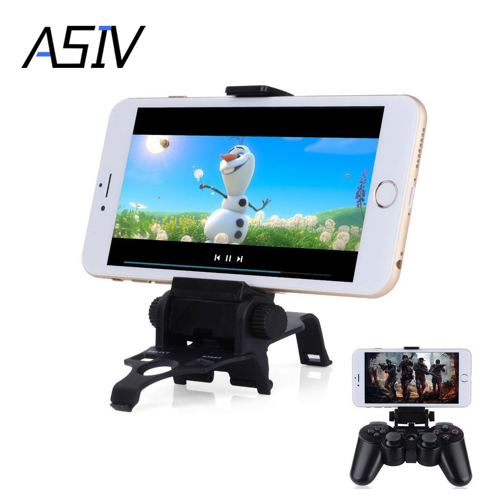 180 Degree Length Adjustable Smart Clip Game Phone Holder Stand for Sony Playstation PS3 Dual Shock 3 Controller with D-Pad Cap(China (Mainland))