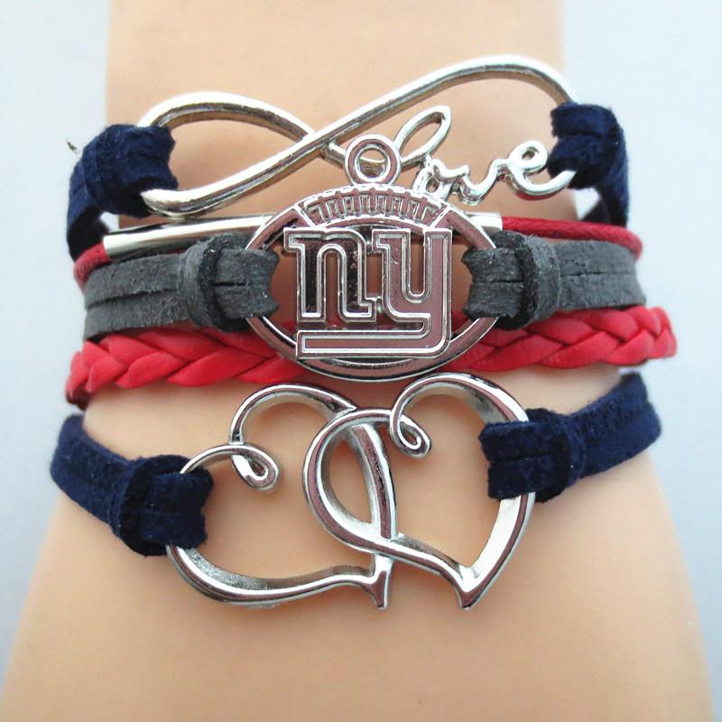 2016 New Infinity Love NFL NY GIANTS Football Team Bracelet blue red Customize Sports friendship Bracelets B09247(China (Mainland))