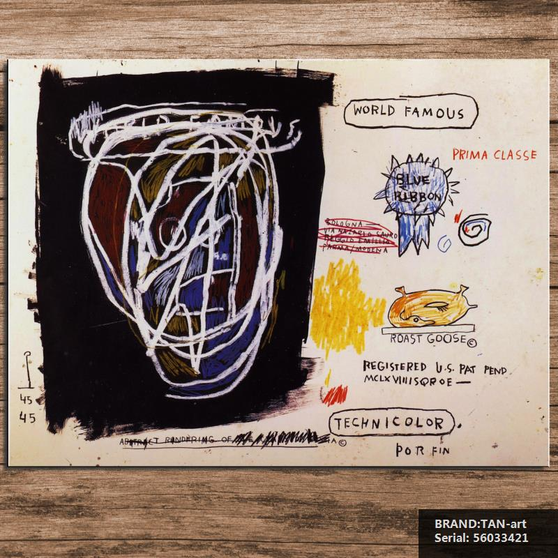 GRAFFITI ART POSTER PRINT ON CANVAS roast by Jean Michel Basquiat NeoExpressionism FOR HOME DECORATION 56033421(China (Mainland))