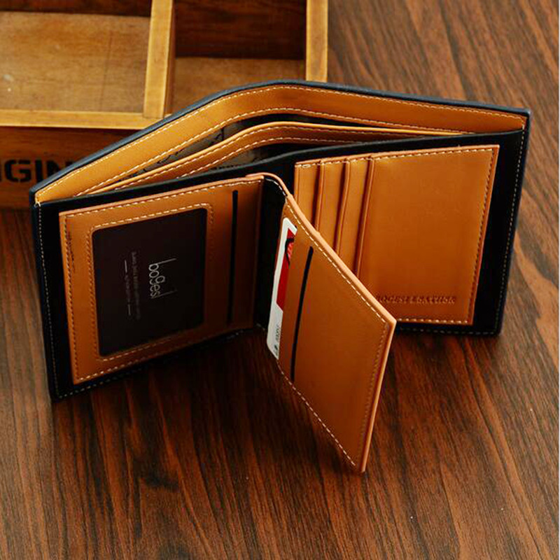 2016 Rushed Carteira Men Wallets Famous Brand Mens Wallet Male Money Purses Soft Id Card Case New Classic Solid Pattern Designer(China (Mainland))