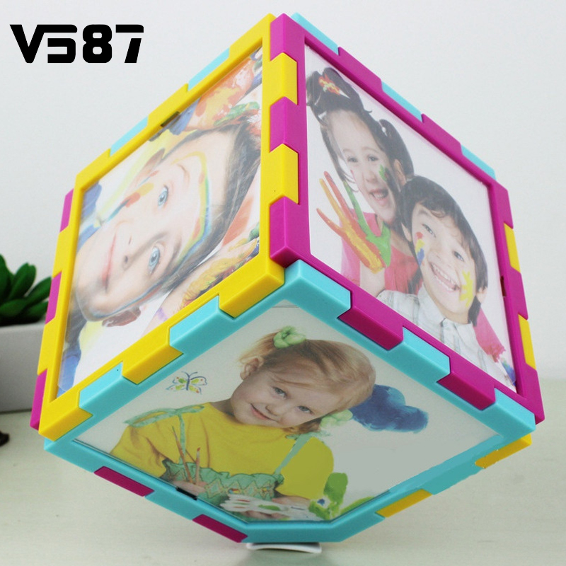 Fashion Electric Automatic Rotation Photo Frame Magic Cube Revolving Multiples Picture Frame 360 Degree Dimensional 5 inch(China (Mainland))