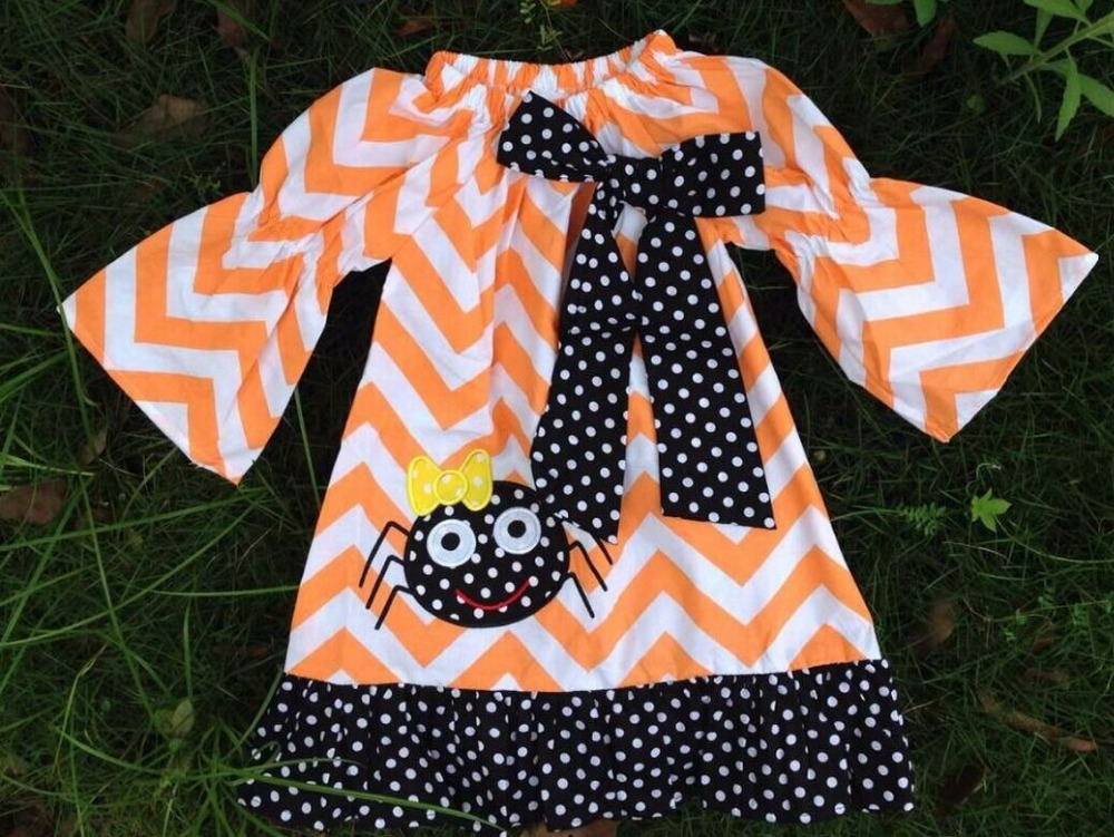 2015 new arrival kids orange and white chervon dress kids boutique dress girl halloween dress with necklace and headband(China (Mainland))
