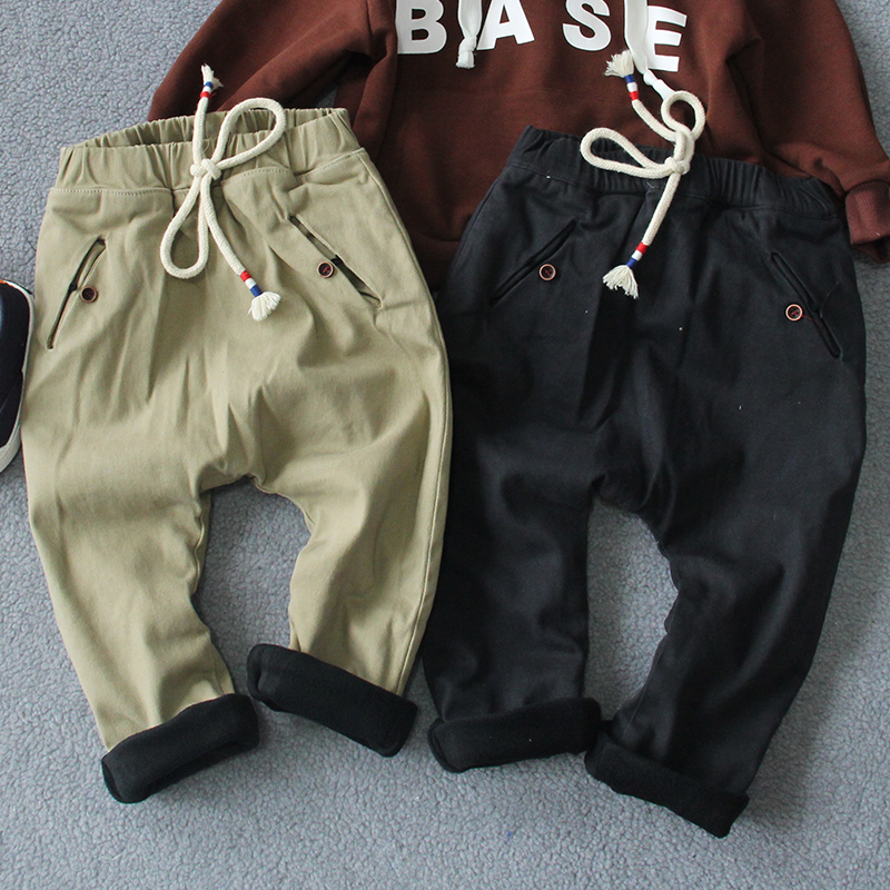 Baby fleece 2015 harem pants autumn and winter male children's clothing child solid color long trousers baby warm pant(China (Mainland))