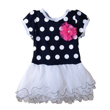Wholesale  2015 New summer Baby Girls Dress Clothes Children cute Dot short sleeve 2 colors Dot dresses