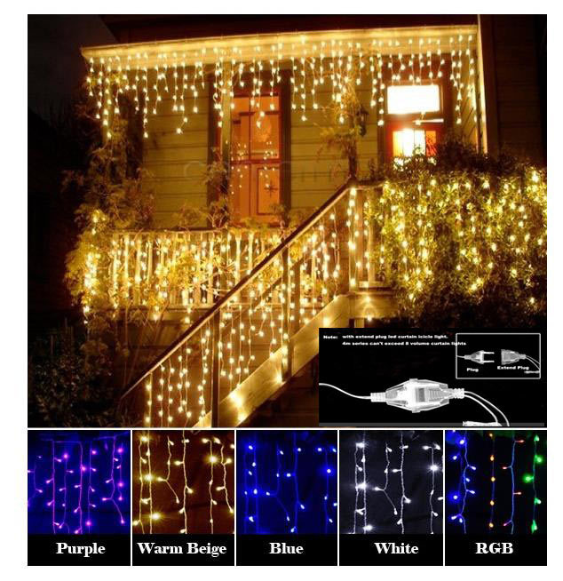 96 LED curtains icicle lights Christmas windown Party deco EU Plug Multicolor Blue Purple 4M 220V Droop 0.5m + extend plug(China (Mainland))
