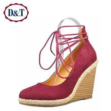 {D&T}Rome Gladiator Women High Heels Wedges 2016  Elegant Princess Suede Women Pumps Sweet Ankle Strap  Women Shoes High Heel(China (Mainland))