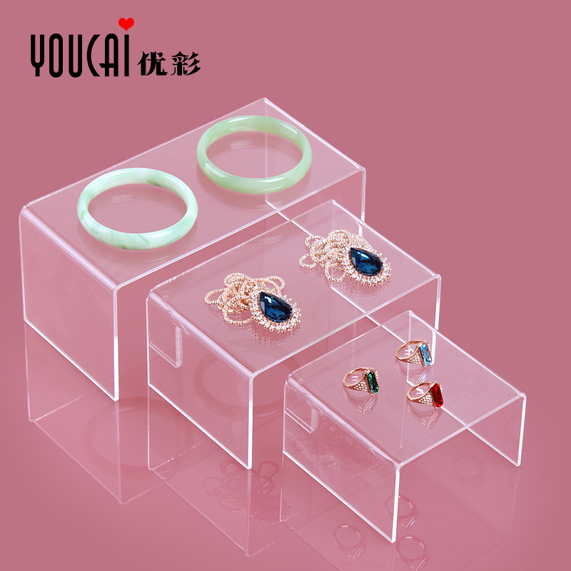 Whole sell clear Jewelry Display Stand Toy Mobile Wallet Bracelets Display Shelf Plexiglass Three-piece Necklace Earring Rack<br><br>Aliexpress