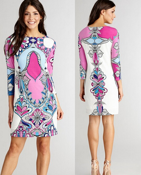 Best Quality New European Fashion Autumn Fall Dress 2015 Ladies Charming Printed 3/4 Sleeve Casual 100%Silk Jersey Dress XXLОдежда и ак�е��уары<br><br><br>Aliexpress