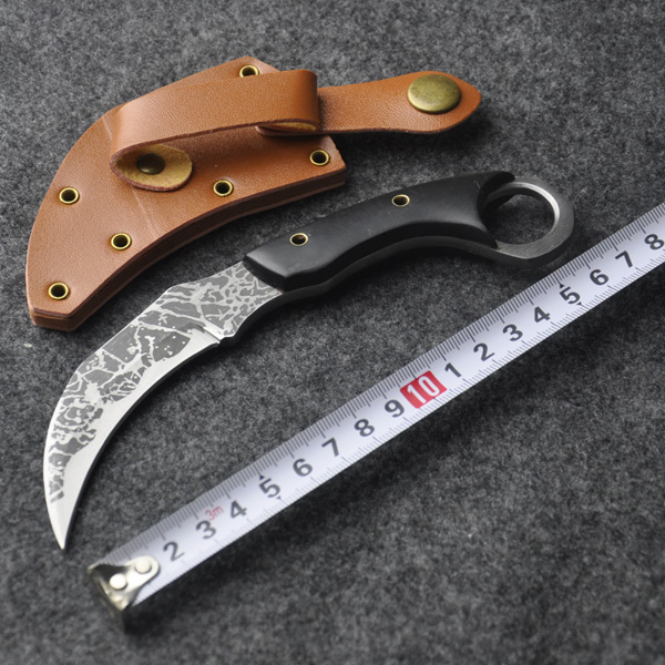 Karambit Knife Combat Knife tactical survival pocket Neck knife hunting camping Fighting Claw with Leather Sheath(China (Mainland))