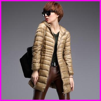 Пуховик с утиным пухом длинная капюшон, зима женщины пуховик куртки ультра лёгкие ...