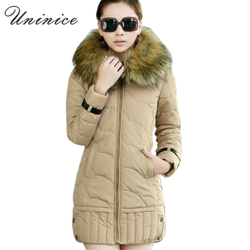 2015 warm winter jacket women faux fur hood solid color parka fashion slim wadded thick parkas long outwear coat female