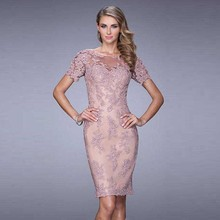Modest Elegant Chic Women Short Sleeves Illusion Neckline Knee-length Appliques Lace Cocktail Dresses 2016 New Fashion(China (Mainland))