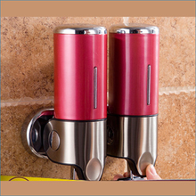 Hotel bathroom Multicolor double soap dispenser,wall-mounted Stainless steel hand soap dispenser,Free Shipping J15344(China (Mainland))