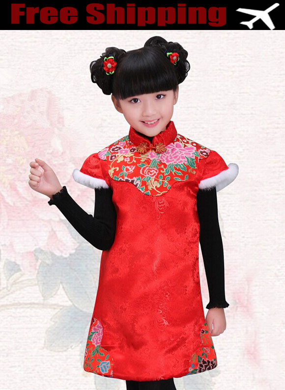 New Year Dress 2015 Chinese Style Baby Girls winter Thickening Novelty Cloth Vintage Qin Dynasty Princess Dress Formal Dress(China (Mainland))