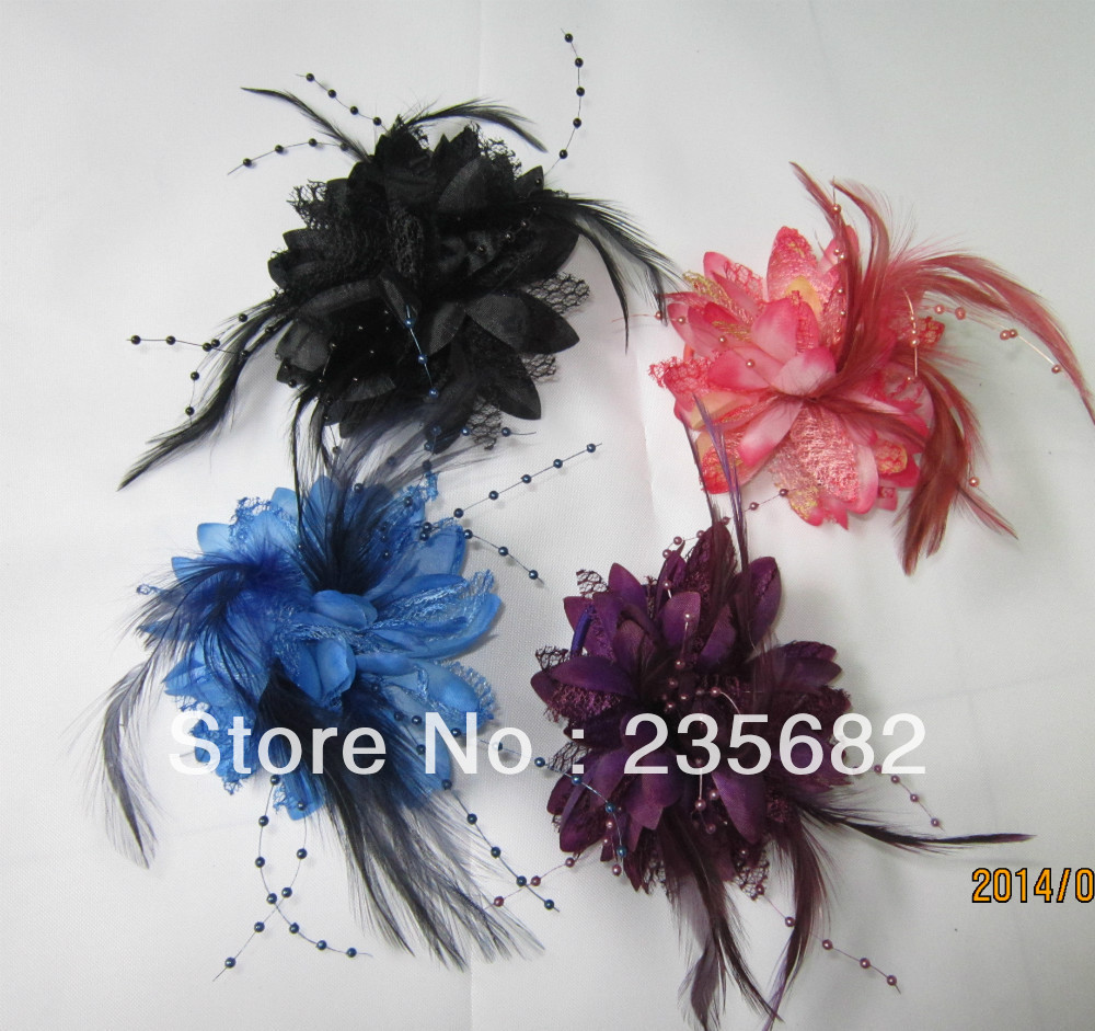 Small beaded feather fabric hair accessory corsage brooch hair accessory dance accessories the bride accessories(China (Mainland))