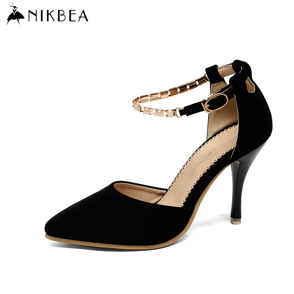 2016 Nikbea Sexy Ankle Strap Heels Women Large Size Nude Heels Pointed Toe High Heels Party Shoes for Women Pumps Brand Summer(China (Mainland))