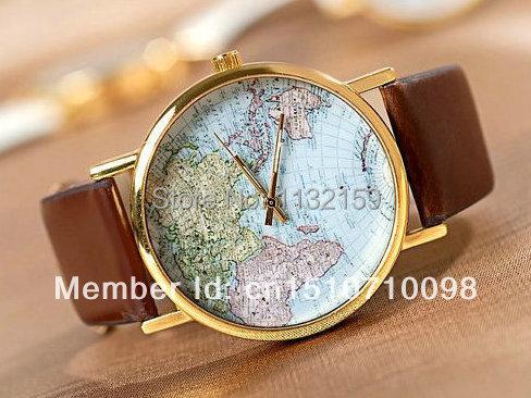 World Map Watch Mans watches Woman watches Fashion Watches Best Unisex Gift W-001(China (Mainland))