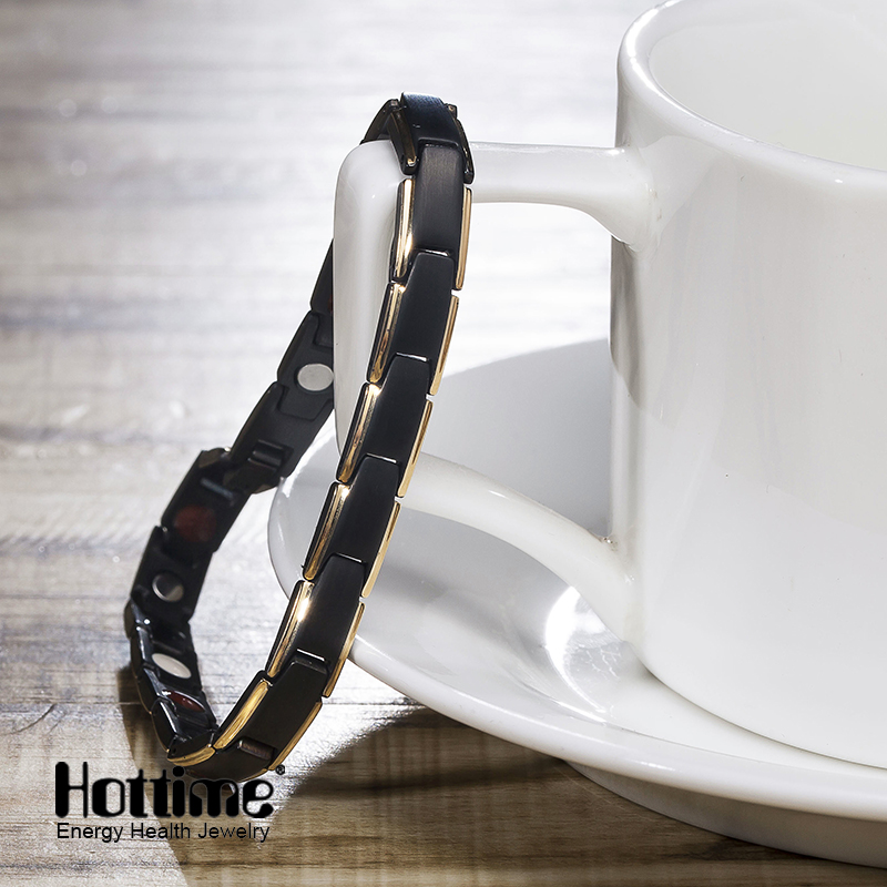 Hottime 4 in 1 Magnetic New Fashion Lovers' Jewelry Steel Black Gold Titanium Bracelet For Women And Men Never Fade Top-Quality(China (Mainland))