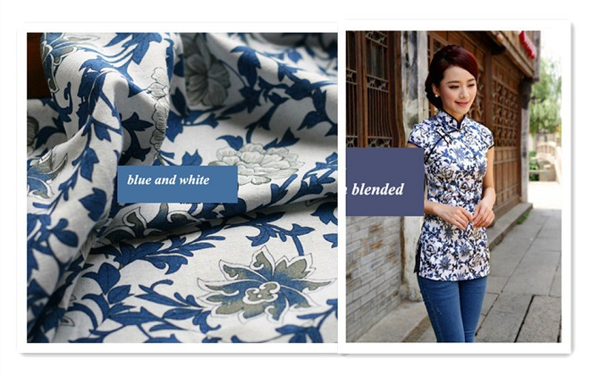 Chinese cheongsam clothes cotton linen fabric textiles 50*140cm blue and white home decoration Cotton print cloth(China (Mainland))