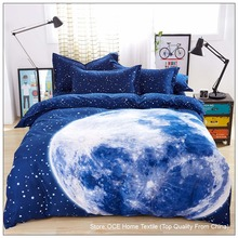 Thick 3D bedding set King size,bed set,duvet cover set with bed sheet ,bedclothes Moon Star Galaxy space nasa&45(China (Mainland))