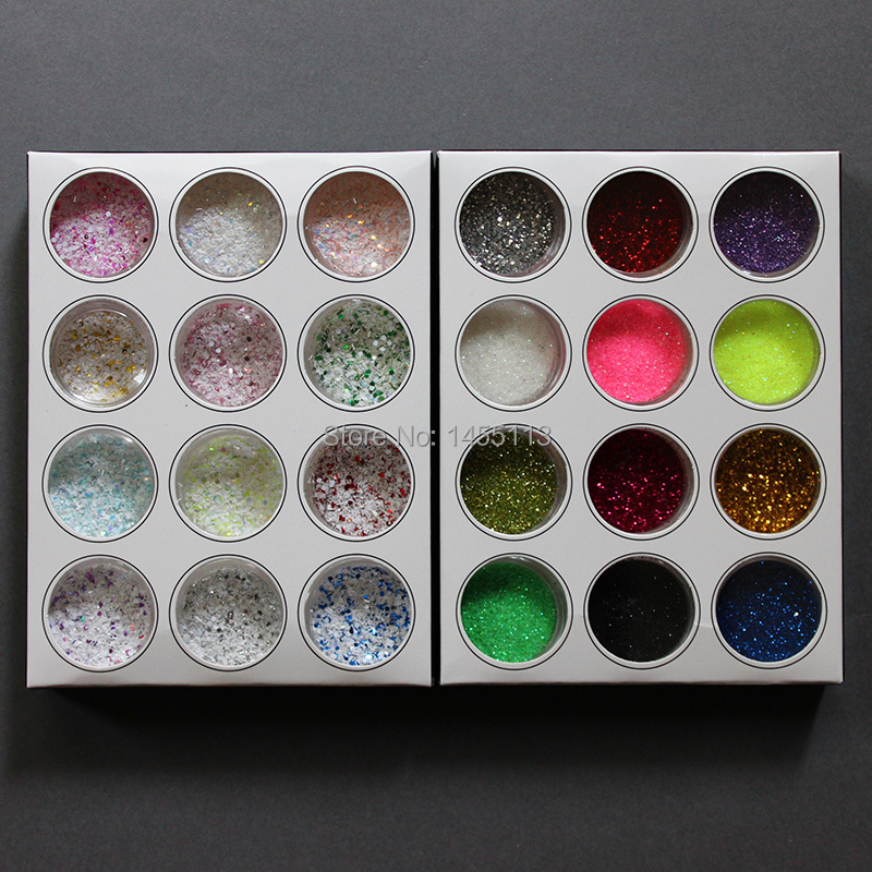 24 Different Colors Nail Glitter Powder Set For Nail Plus 3D Glitter Snow Sequins Dust Decoration(China (Mainland))