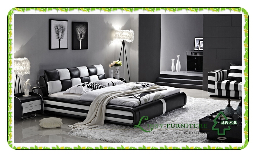 Black and White Leather Bed 876 x 539