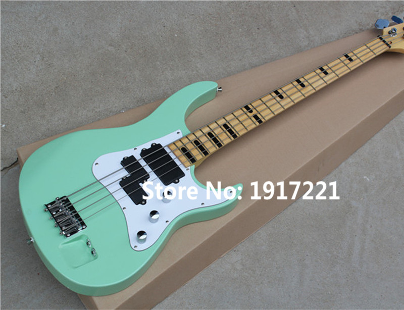 Hot Sale 4-String Blue Electric Bass with White Pickguard,Double Jack Holes,Black Rectangular Fret Marks Inlay,Can be Changed(China (Mainland))