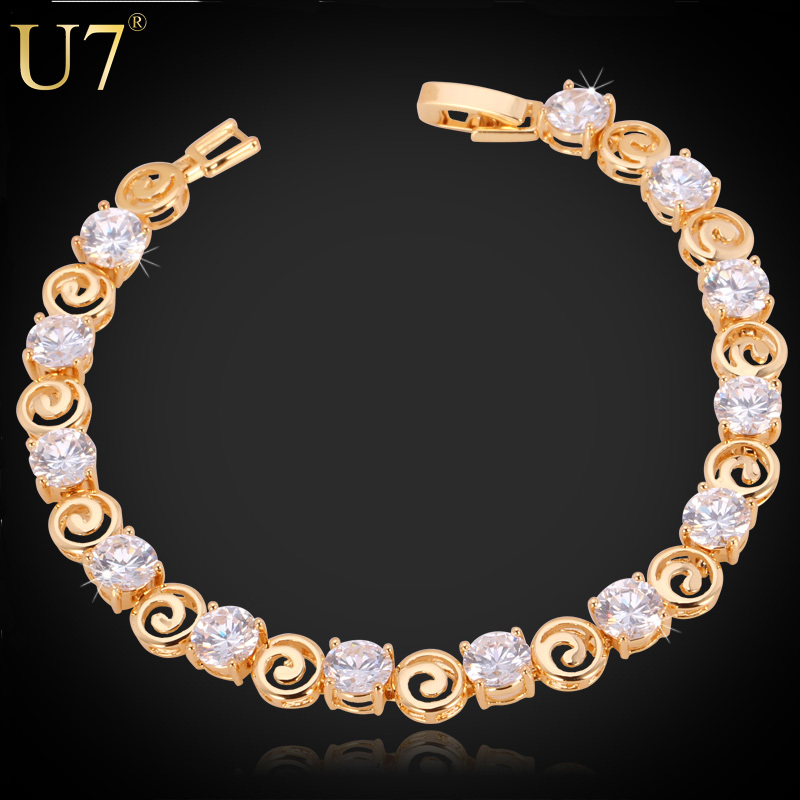 Zircon Bracelet Unique Design Trendy 18K Real Gold Plated Luxury Clear AAA Cubic Zirconia Jewelry Chain Bracelets Wholesale H507(China (Mainland))