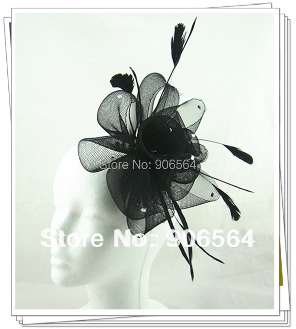 17 colors fascinator hats nice crinoline and feather hats cute occasion millinery headpiece party hats(China (Mainland))