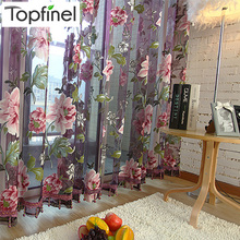 Hot sale purple floral tulle in sheer curtains for living room the bedroom kitchen shade window treatment curtain blinds panel(China (Mainland))
