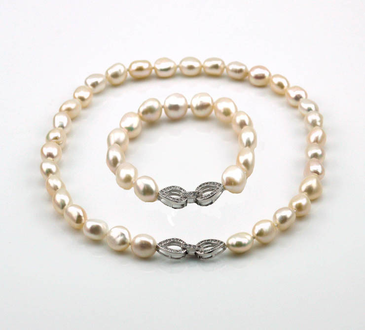 casual style 9 10mm pearl necklace set jewelry wedding