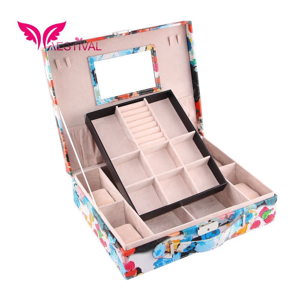 2015 New Arrival,Jewelry Box Watercolor Printing Travel Case Storage With Lock(Blue) Free Shipping(China (Mainland))