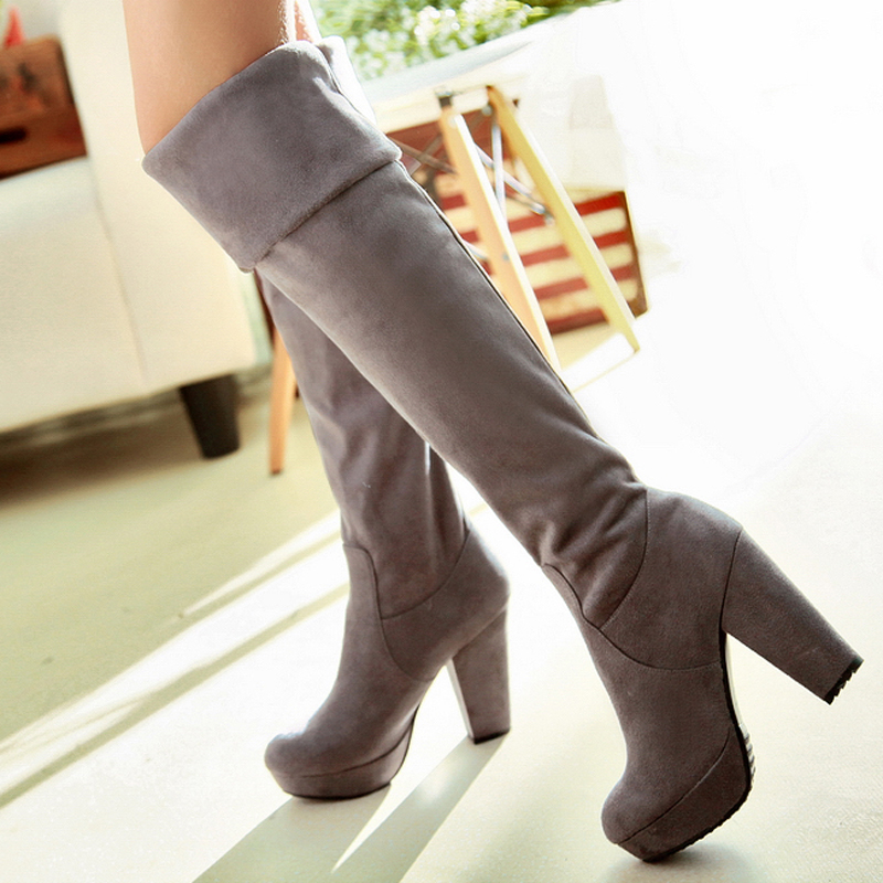 European street style over knee high boots fashion slip-on Multi Wearing Ways black brown gray platform womens riding boots<br><br>Aliexpress